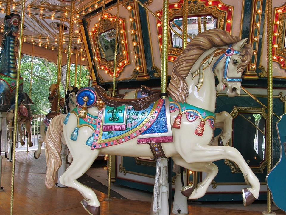 Carousel horse at the Franklin Square carousel minutes from our apartments near Franklin Square.