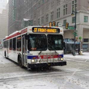 Philadelphia SEPTA bus in winter.