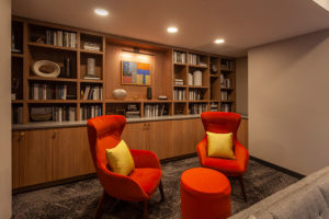 Resident library with work stations at Chocolate Works apartments in Old City