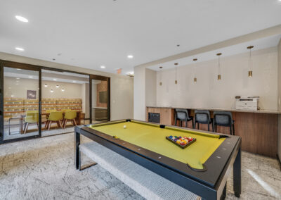 Chocolate Works clubroom with billiards table